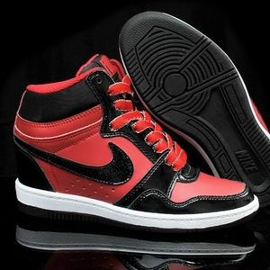 Nike Force Sky High Red/Blk Patent/Sparkle Swoosh